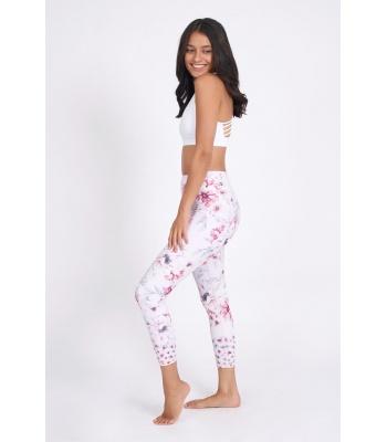legging de yoga rose clair et fleurs