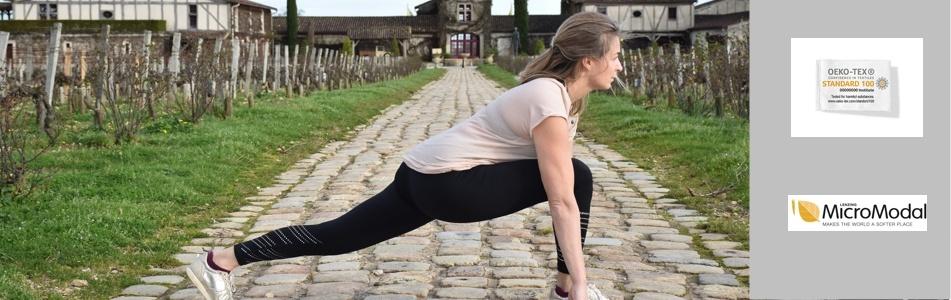 brassière de yoga en coton bio, tee-shirt de yoga écologique et ajusté
